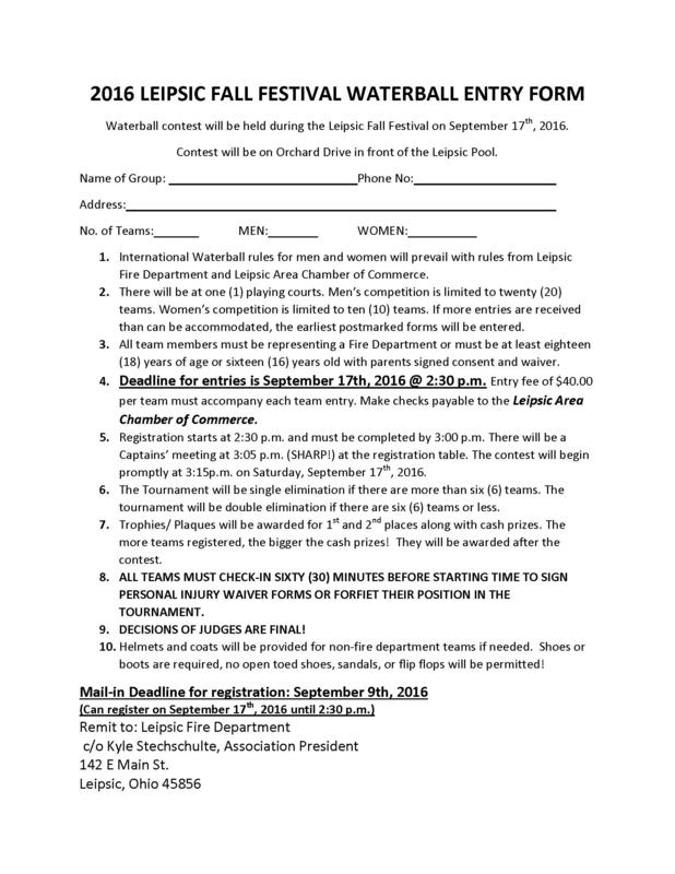 Warterball Entry Form
