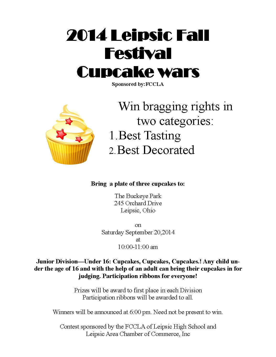 leipsic fall festival information cupcake wars flyer