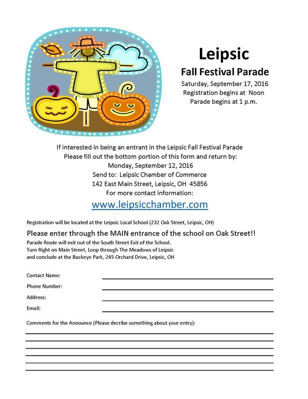 2016 Fall Festival Parade Entry Form
